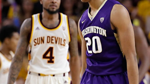 Washington guard Markelle Fultz (20) reacts to a missed shot as Arizona State guard Torian Graham (4) stands nearby during the second half of an NCAA college basketball game, Wednesday, Jan. 25, 2017, in Tempe, Ariz. (AP Photo/Matt York)