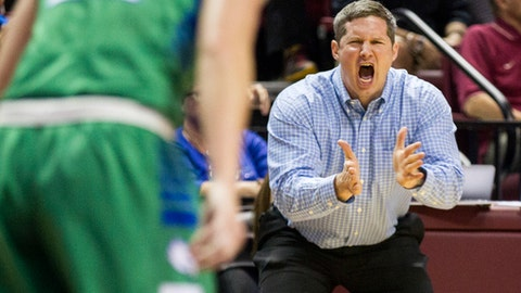 Florida Gulf Coast head coach Karl Smesko shouts at his team during the first half of a women's college basketball game in the second round of the NCAA tournament against Florida State in Tallahassee, Fla., Saturday March 23, 2015. (AP Photo/Mark Wallheiser)