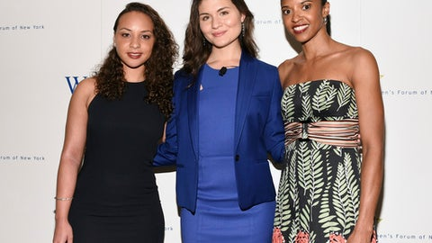 """FILE - In this June 20, 2016, file photo, actors from Broadway's """"Hamilton"""", Jasmine Cephas Jones, Phillipa Soo and Renee Elise Goldsberry, from left, attend the Elly Awards in New York. Original cast members of the Tony Award-winning Broadway hit """"Hamilton: An American Musical,"""" will sing """"America the Beautiful"""" during pregame festivities at Super Bowl 51, the NFL and Fox announced Friday, Jan. 27. The performance by the three, who starred as the Schuyler Sisters, will be televised live by Fox prior to kickoff Feb. 5 when the Atlanta Falcons face the New England Patriots. (Photo by Evan Agostini/Invision/AP, File)"""