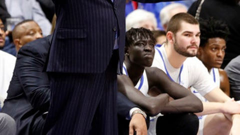 Kentucky head coach John Calipari reacts to a play during the second half of an NCAA college basketball game against Kansas, Saturday, Jan. 28, 2017, in Lexington, Ky. (AP Photo/James Crisp)