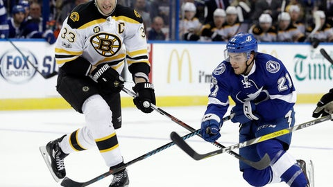 Tampa Bay Lightning center Brayden Point (21) gets around Boston Bruins defenseman Zdeno Chara (33), of Slovakia, during the second period of an NHL hockey game Tuesday, Jan. 31, 2017, in Tampa, Fla. (AP Photo/Chris O'Meara)