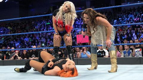 Six-woman tag match: Alexa Bliss, Mickie James and Natalya vs. Becky Lynch, Nikki Bella and Naomi