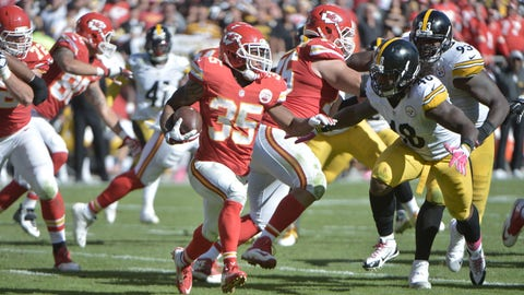 Oct 25, 2015; Kansas City, MO, USA; Kansas City Chiefs running back Charcandrick West (35) runs the ball as Pittsburgh Steelers linebacker Bud Dupree (48) attempts the tackle during the second half at Arrowhead Stadium. The Chiefs won 23-13. Mandatory Credit: Denny Medley-USA TODAY Sports