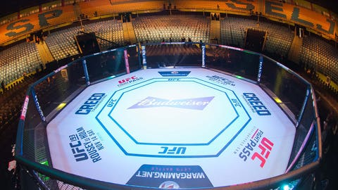 Nov 7, 2015; Sao Paulo, Brazil; A general view of the octagon before UFC Fight Night at Ibirapuera Gymnasium. Mandatory Credit: Jason Silva-USA TODAY Sports