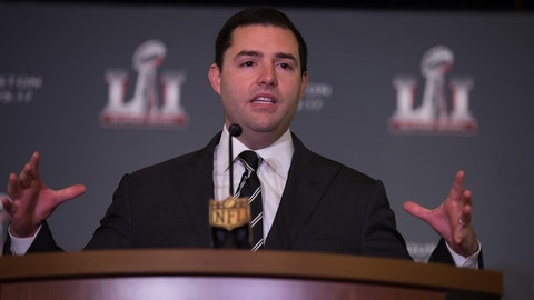 """Feb 8, 2016; San Francisco, CA, USA; San Francisco 49ers CEO Jed York during a """"Handoff to Houston"""" press conference at the Super Bowl Media Center at Moscone Center-West. Mandatory Credit: Kelley L Cox-USA TODAY Sports"""