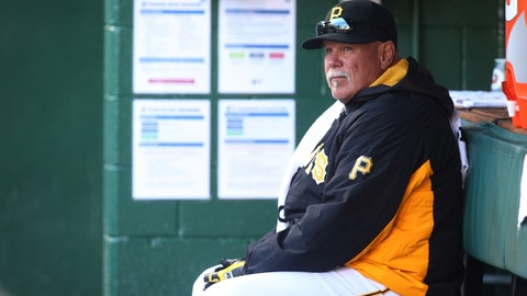 Apr 5, 2016; Pittsburgh, PA, USA; Pittsburgh Pirates pitching coach Ray Searage (54) looks on from the dugout before the Pirates host the St. Louis Cardinals at PNC Park. Mandatory Credit: Charles LeClaire-USA TODAY Sports