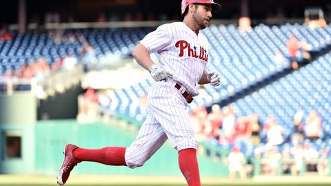 Jul 5, 2016; Philadelphia, PA, USA; Philadelphia Phillies right fielder Peter Bourjos (17) steps on third base after hitting a solo home run during the first inning against the Atlanta Braves at Citizens Bank Park. Mandatory Credit: Eric Hartline-USA TODAY Sports