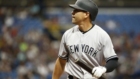 Jul 31, 2016; St. Petersburg, FL, USA; New York Yankees center fielder Jacoby Ellsbury (22) looks on while at bat against the Tampa Bay Rays at Tropicana Field. Mandatory Credit: Kim Klement-USA TODAY Sports
