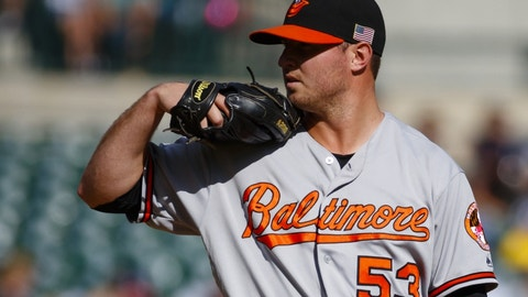 Sep 11, 2016; Detroit, MI, USA; Baltimore Orioles relief pitcher Zach Britton (53) pitches in the ninth inning against the Detroit Tigers at Comerica Park. The Orioles won 3-1. Mandatory Credit: Rick Osentoski-USA TODAY Sports