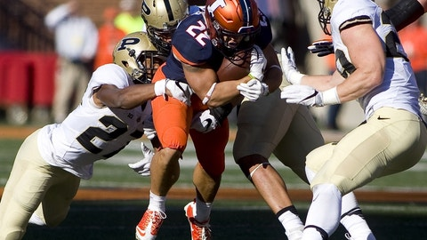 Oct 8, 2016; Champaign, IL, USA;  Purdue Boilermakers safety Navon Mosley (27) tackles Illinois Fighting Illini running back Kendrick Foster (22) during the 2nd quarter at Memorial Stadium. Mandatory Credit: Mike Granse-USA TODAY Sports