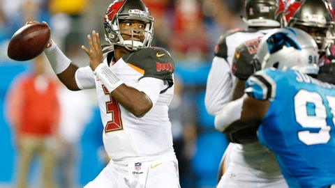 Oct 10, 2016; Charlotte, NC, USA;  Tampa Bay Buccaneers quarterback Jameis Winston (3) throws the ball during the second quarter against the Carolina Panthers at Bank of America Stadium. Mandatory Credit: Jeremy Brevard-USA TODAY Sports