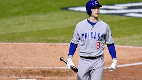 Oct 25, 2016; Cleveland, OH, USA; Chicago Cubs player Chris Coghlan (8) reacts after striking out against the Cleveland Indians in the fifth inning in game one of the 2016 World Series at Progressive Field. Mandatory Credit: David Richard-USA TODAY Sports