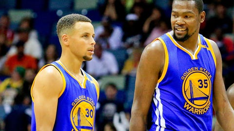 Oct 28, 2016; New Orleans, LA, USA;  Golden State Warriors guard Stephen Curry (30) and forward Kevin Durant (35)  during the fourth quarter of a game against the New Orleans Pelicans at the Smoothie King Center. The Warriors defeated the Pelicans 122-114. Mandatory Credit: Derick E. Hingle-USA TODAY Sports