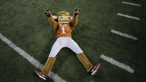 Oct 29, 2016; Austin, TX, USA; The Texas Longhorns mascot celebrates after defeating the Baylor Bears 35-34 at Darrell K Royal-Texas Memorial Stadium. Mandatory Credit: Erich Schlegel-USA TODAY Sports