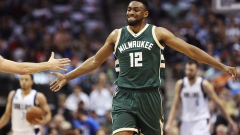 Nov 6, 2016; Dallas, TX, USA; Milwaukee Bucks forward Jabari Parker (12) reacts after scoring during the first quarter against the Dallas Mavericks at American Airlines Center. Mandatory Credit: Kevin Jairaj-USA TODAY Sports