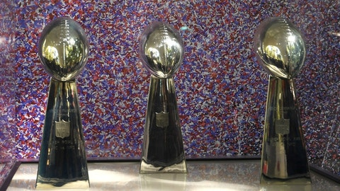 Nov 21, 2016; Mexico City, MEX; General overall view of the Super Bowl XI, XV and XVIII Lombardi trophies won by the Oakland Raiders and Los Angeles Raiders on display during the NFL Fan Fest at Chapultepec Park prior to the NFL International Series game between the Houston Texans and the Oakland Raiders. Mandatory Credit: Kirby Lee-USA TODAY Sports