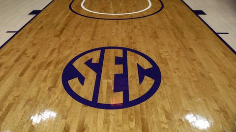 Nov 20, 2016; Baton Rouge, LA, USA;  SEC logo on the court before the basketball goal before the game between the Connecticut Huskies and the LSU Tigers at Maravich Assembly Center. Mandatory Credit: Stephen Lew-USA TODAY Sports