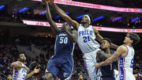 Nov 23, 2016; Philadelphia, PA, USA; Philadelphia 76ers center Joel Embiid (21) blocks a shot by Memphis Grizzlies forward Zach Randolph (50) during the first quarter of the game at the Wells Fargo Center. Mandatory Credit: John Geliebter-USA TODAY Sports