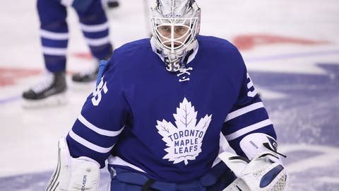 Nov 22, 2016; Toronto, Ontario, CAN; Toronto Maple Leafs Jhonas Enroth (35) warms up before the start of their game against the Carolina Hurricanes at Air Canada Centre. The Hurricanes beat the Maple Leafs 2-1. Mandatory Credit: Tom Szczerbowski-USA TODAY Sports