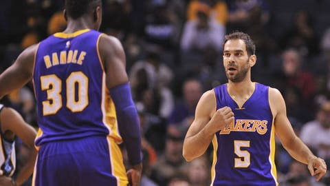 Dec 3, 2016; Memphis, TN, USA; Los Angeles Lakers forward Julius Randle (30) and guard Jose Calderon (5) react during the first half against the Memphis Grizzlies  at FedExForum. Mandatory Credit: Justin Ford-USA TODAY Sports
