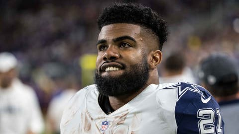Dec 1, 2016; Minneapolis, MN, USA; Dallas Cowboys running back Ezekiel Elliott (21) looks on during a game at U.S. Bank Stadium. The Cowboys defeated the Vikings 17-15. Mandatory Credit: Brace Hemmelgarn-USA TODAY Sports