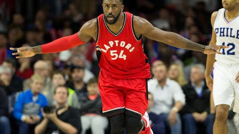 Dec 14, 2016; Philadelphia, PA, USA; Toronto Raptors forward Patrick Patterson (54) reacts to his three pointer in front of Philadelphia 76ers guard Gerald Henderson (12) during the second half at Wells Fargo Center. The Toronto Raptors won 123.114. Mandatory Credit: Bill Streicher-USA TODAY Sports