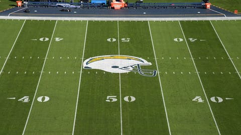 Dec 18, 2016; San Diego, CA, USA; General overall view of the San Diego Chargers helmet logo at midfield during a NFL football game against the Oakland Raiders at Qualcomm Stadium. Mandatory Credit: Kirby Lee-USA TODAY Sports