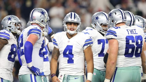Dec 18, 2016; Arlington, TX, USA; Dallas Cowboys quarterback Dak Prescott (4) in the huddle against the Tampa Bay Buccaneers at AT&T Stadium. Mandatory Credit: Matthew Emmons-USA TODAY Sports