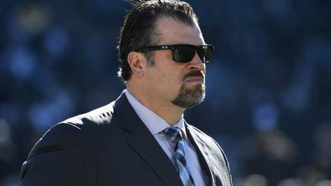 Dec 24, 2016; Oakland, CA, USA; Indianapolis Colts general manager Ryan Grigson walks before an a NFL football game against the Oakland Raiders at Oakland-Alameda Coliseum. Mandatory Credit: Kirby Lee-USA TODAY Sports