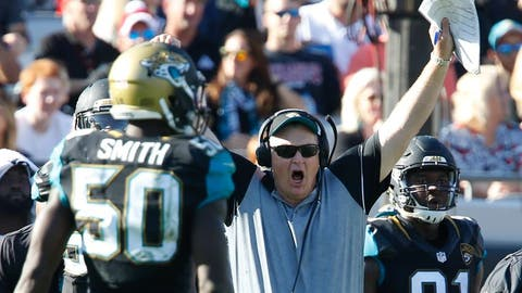 Dec 24, 2016; Jacksonville, FL, USA;  Jacksonville Jaguars interim head coach Doug Marrone cheers during the third quarter of an NFL Football game at EverBank Field. Mandatory Credit: Reinhold Matay-USA TODAY Sports