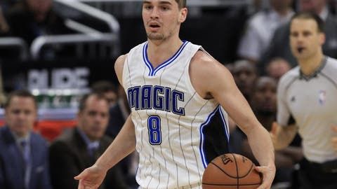 Dec 28, 2016; Orlando, FL, USA;  Orlando Magic guard Mario Hezonja (8) brings the ball down court during the second half of an NBA basketball game against the Charlotte Hornets at Amway Center.The Hornets won 120-101.  Mandatory Credit: Reinhold Matay-USA TODAY Sports