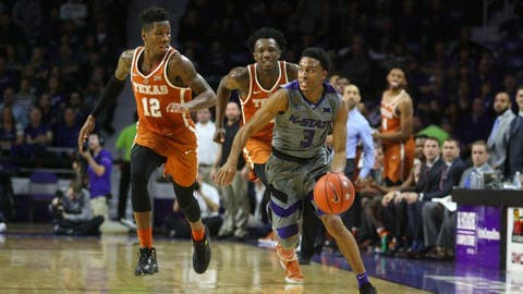 Dec 30, 2016; Manhattan, KS, USA; Kansas State Wildcats guard Kamau Stokes (3) steals the ball from Texas Longhorns guard Kerwin Roach Jr. (12) at Fred Bramlage Coliseum. The Wildcats won the game, 65-62. Mandatory Credit: Scott Sewell-USA TODAY Sports