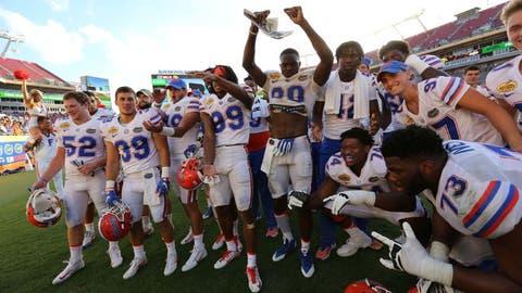 Jan 2, 2017; Tampa , FL, USA; The Florida Gators players celebrate after defeating the Iowa Hawkeyes 30-3 at Raymond James Stadium. Mandatory Credit: Kim Klement-USA TODAY Sports
