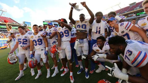 Jan 2, 2017; Tampa , FL, USA; The Florida Gators players celebrate after defeating the Iowa Hawkeyes 30-3 at Raymond James Stadium. Mandatory Credit: Kim Klement-USA TODAY Sports