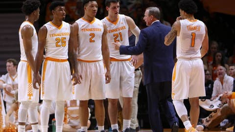 Jan 3, 2017; Knoxville, TN, USA; The Tennessee Volunteers with head coach Rick Barnes during the first half against the Arkansas Razorbacks at Thompson-Boling Arena. Mandatory Credit: Randy Sartin-USA TODAY Sports