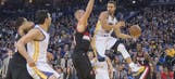 Steph Curry shows the hang time with incredible layup