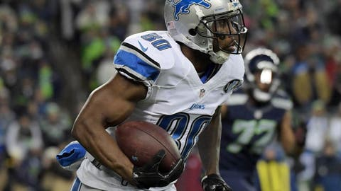 January 7, 2017; Seattle, WA, USA; Detroit Lions wide receiver Anquan Boldin (80) runs the ball against the Seattle Seahawks during the second half in the NFC Wild Card playoff football game at CenturyLink Field. Mandatory Credit: Kirby Lee-USA TODAY Sports