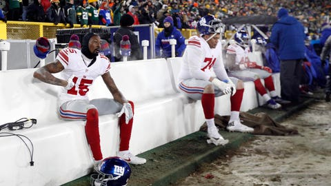 Jan 8, 2017; Green Bay, WI, USA; New York Giants wide receiver Tavarres King (15) reacts on the bench against the Green Bay Packers during the second half in the NFC Wild Card playoff football game at Lambeau Field. Mandatory Credit: Jeff Hanisch-USA TODAY Sports