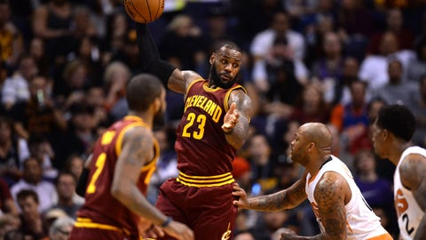 Jan 8, 2017; Phoenix, AZ, USA; Cleveland Cavaliers forward LeBron James (23) controls the ball against the Phoenix Suns during the first half at Talking Stick Resort Arena. The Cavaliers won 120-116. Mandatory Credit: Joe Camporeale-USA TODAY Sports