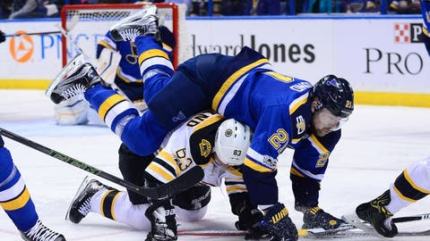 Jan 10, 2017; St. Louis, MO, USA; St. Louis Blues center Patrik Berglund (21) falls on top of Boston Bruins left wing Brad Marchand (63) during the third period at Scottrade Center. The Bruins won 5-3. Mandatory Credit: Jeff Curry-USA TODAY Sports