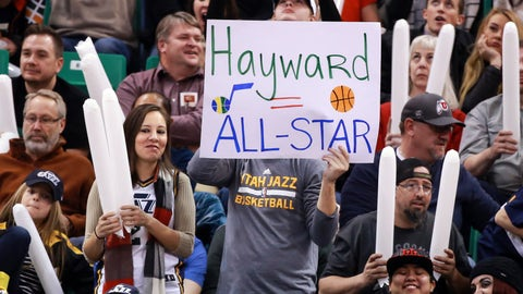 Jan 13, 2017; Salt Lake City, UT, USA; Utah Jazz fan holds up a sign saying that Utah Jazz forward Gordon Hayward (20) should be an all-star during the third quarter against the Detroit Pistons at Vivint Smart Home Arena. Utah Jazz won the game 110-77. Mandatory Credit: Chris Nicoll-USA TODAY Sports