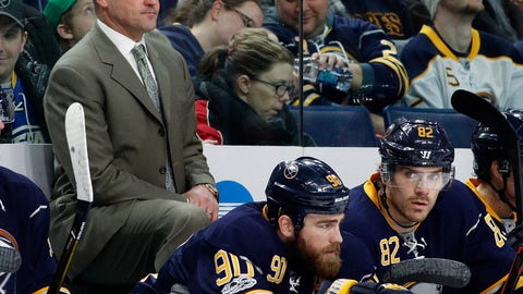 Jan 16, 2017; Buffalo, NY, USA; Buffalo Sabres head coach Dan Bylsma (L) looks on from behind the bench during the second period against the Dallas Stars at KeyBank Center. Mandatory Credit: Kevin Hoffman-USA TODAY Sports