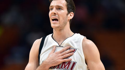 Jan 17, 2017; Miami, FL, USA; Miami Heat guard Goran Dragic (7) reacts to a call during the first half against Houston Rockets at American Airlines Arena. Mandatory Credit: Steve Mitchell-USA TODAY Sports