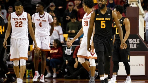 Jan 22, 2017; Los Angeles, CA, USA; Arizona State Sun Devils forward Obinna Oleka (5) reacts after forcing the ball out-of-bounds for a change in possession during the second half against the Southern California Trojans at Galen Center. The Southern California Trojans won 82-79. Mandatory Credit: Kelvin Kuo-USA TODAY Sports