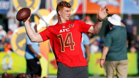 Jan 25, 2017; Orlando, FL, USA; Cincinnati Bengals quarterback Andy Dalton (14) throws the ball as he shows off his skills during the Pro Bowl Skills Showdown at Wide World of Sports. Mandatory Credit: Kim Klement-USA TODAY Sports