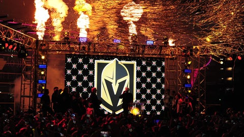 LAS VEGAS, NV - NOVEMBER 22: Pyrotechnics explode as the Vegas Golden Knights name and logo is revealed during the Las Vegas NHL team name Unveiling ceremony on November 22, 2016, at The Park at T-Mobile Arena in Las Vegas, NV. (Photo by Josh Holmberg/Icon Sportswire) (Icon Sportswire via AP Images)