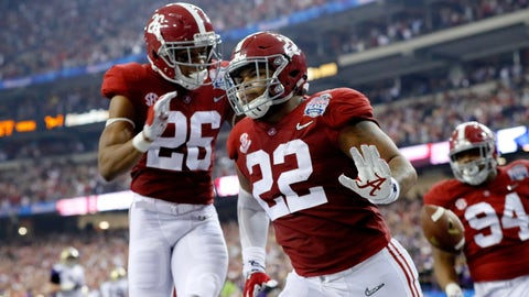 ATLANTA, GA - DECEMBER 31:  Ryan Anderson #22 of the Alabama Crimson Tide racts after scoring a touchdown against the Washington Huskies during the 2016 Chick-fil-A Peach Bowl at the Georgia Dome on December 31, 2016 in Atlanta, Georgia.  (Photo by Kevin C. Cox/Getty Images)