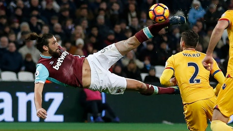 West Ham United's English striker Andy Carroll shoots to score their second goal with this bicycle kick during the English Premier League football match between West Ham United and Crystal Palace at The London Stadium, in east London on January 14, 2017. / AFP / ian KINGTON / RESTRICTED TO EDITORIAL USE. No use with unauthorized audio, video, data, fixture lists, club/league logos or 'live' services. Online in-match use limited to 75 images, no video emulation. No use in betting, games or single club/league/player publications.  /         (Photo credit should read IAN KINGTON/AFP/Getty Images)