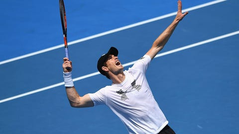 MELBOURNE, AUSTRALIA - JANUARY 14:  Andy Murray of Scotland serves during a practice session ahead of the 2017 Australian Open at Melbourne Park on January 14, 2017 in Melbourne, Australia.  (Photo by Quinn Rooney/Getty Images)
