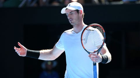 MELBOURNE, AUSTRALIA - JANUARY 22:  Andy Murray of Great Britain reacts in his fourth round match against Mischa Zverev of Germany on day seven of the 2017 Australian Open at Melbourne Park on January 22, 2017 in Melbourne, Australia.  (Photo by Michael Dodge/Getty Images)